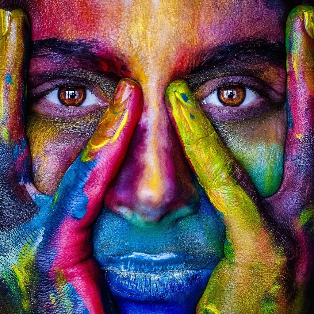 girl with colored face