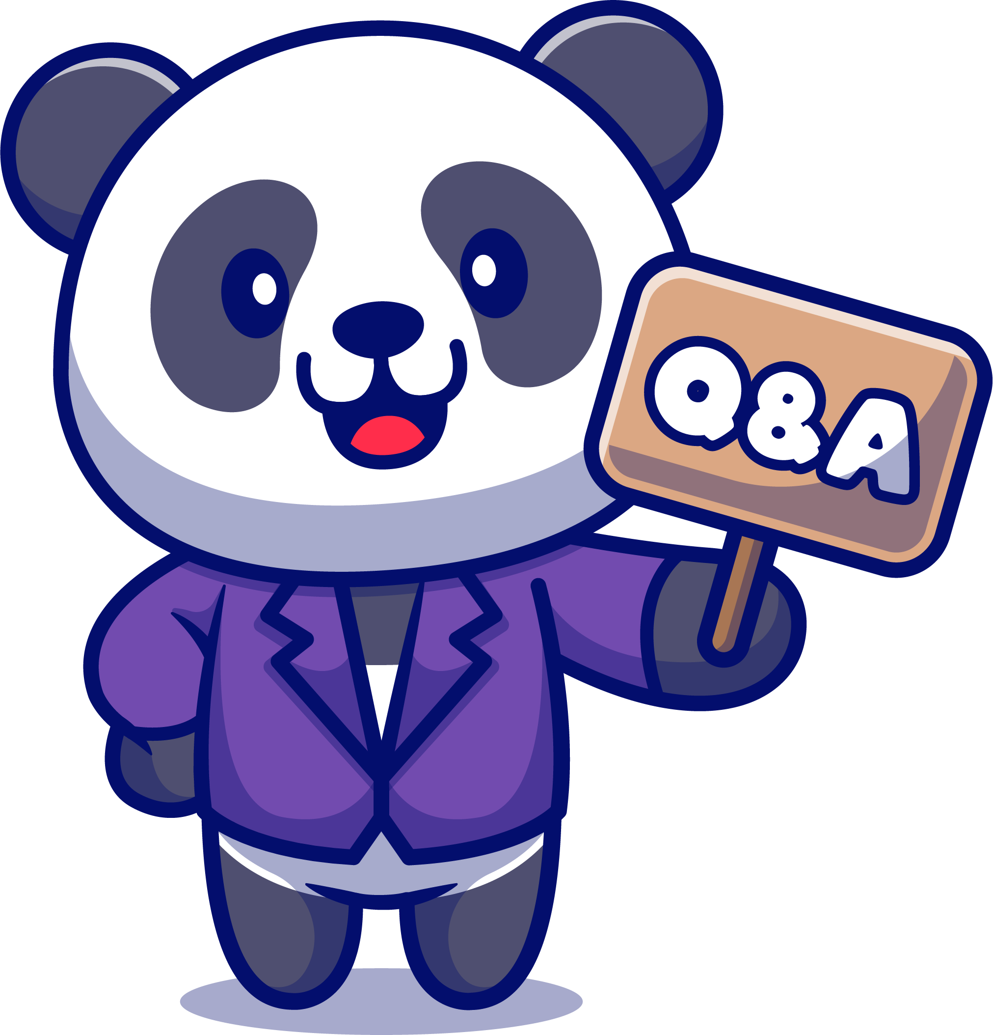 Panda with Q&A sign